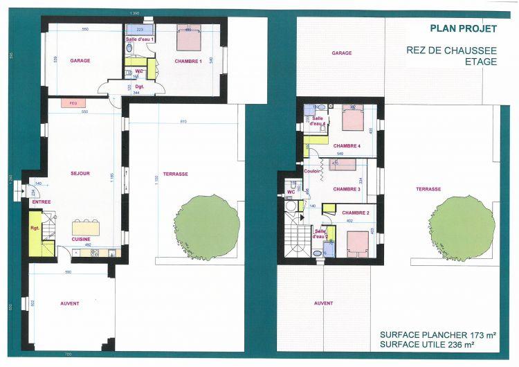 Terrain a batir projet de construction de deux maisons a for Projet de construction terrain maison